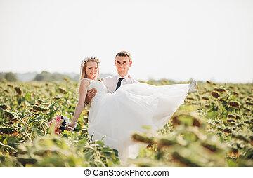 par, casório, campo, girassóis, beijando, posar
