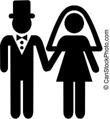 par, casório, pictograma