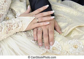 par, casado, apenas, hands.