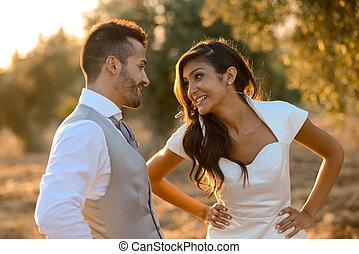 par, casado, fundo, apenas, natureza