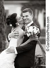 par, casado, jovem, apenas, feliz