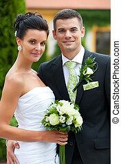 par, casado, jovem, apenas