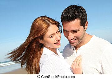 par, casado, praia, feliz