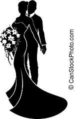par casando, noiva noivo, silueta