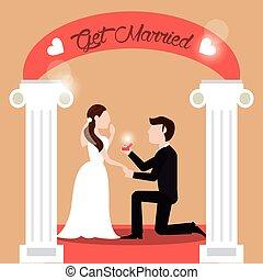 par, casar, -, homem propondo, mulher