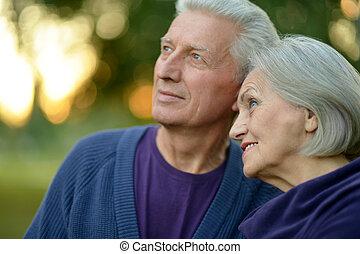 par, caucasiano, idoso