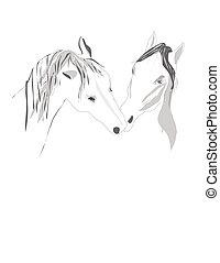 par, cavalos, levantar, ternamente, tocar
