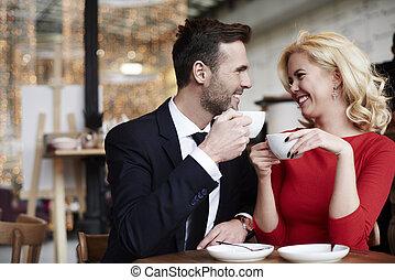 par, cena, alegre, romanticos