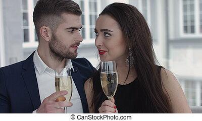 par, champanhe, brindar, restaurante