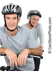 par, ciclismo, idoso