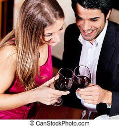 par, clinking, vinho bebendo, vermelho, óculos