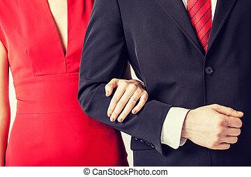 par, com, anel casamento