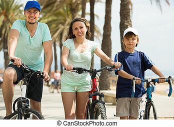 par, com, filho, ligado, bicycles
