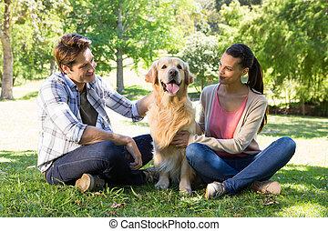 par, com, seu, cão, parque