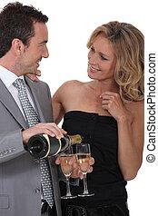 par, com, um, vidro champanhe