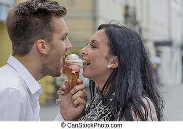 par, comer, sorvete