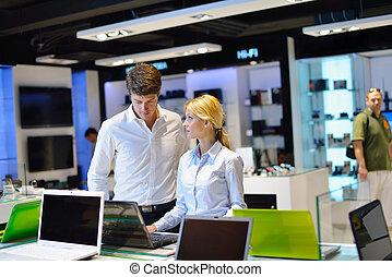 par, consumidor, jovem, loja, eletrônica