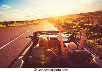 par, convertable, solnedgång, drivande