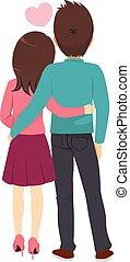 par, costas, abraçando