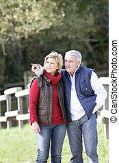 par, couple, parc, prendre, promenade