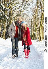 par, couple, pays boisé, marche, neigeux