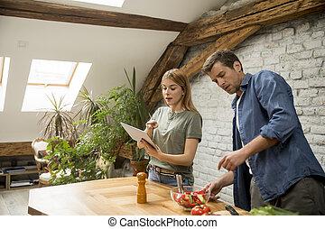 par, cozinhar, cozinha, modernos