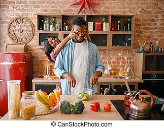 par, cozinhar, enquanto, pretas, divertimento, tendo, cozinha