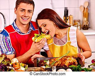 par, cozinhar, galinha, kitchen.