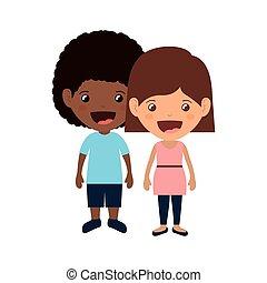 par, crianças, sorrindo