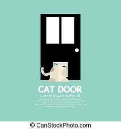 par, dépassement, porte, chat