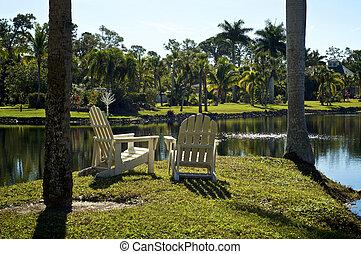 par, de, adirondack, estilo, cadeiras, em, lago
