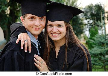 par, de, feliz, graduado