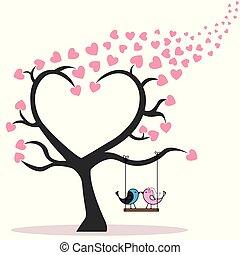 par, de, pássaros, em, árvore