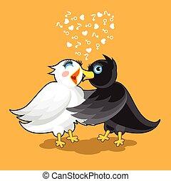 par, de, pássaros