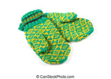 par, de, verde, tricotado, luvas