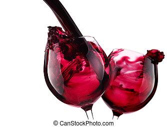 par, de, vidrio, con, vino rojo, salpicadura