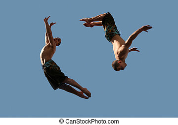 par, de, voando, meninos
