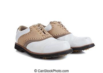 par, de, zapatos del golf, en, un, fondo blanco
