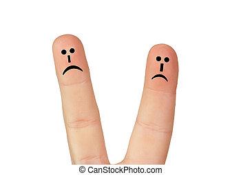 par, dedos, infeliz