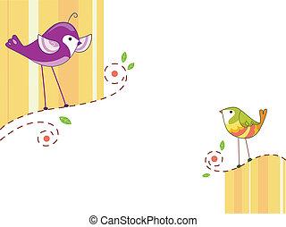 par, desenho, pássaros
