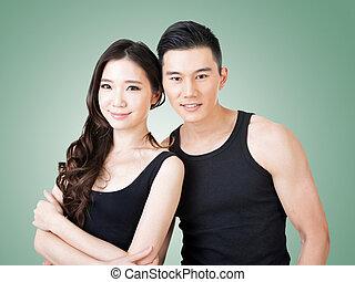 par, desporto, jovem, asiático