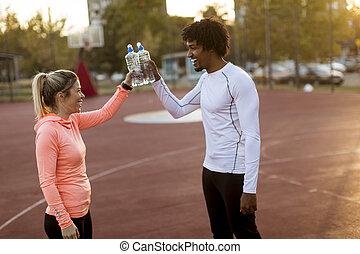 par, desporto, multiethnic, ao ar livre