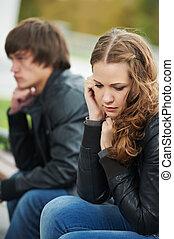 par, dificuldades, jovem, relacionamento, pessoas
