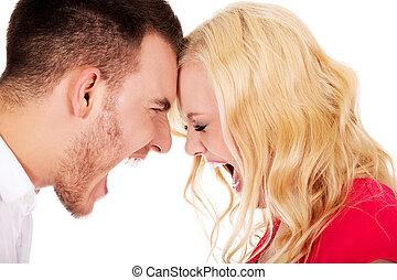 par, discuta, jovem, tendo