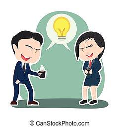 par, discutir, chinês, idéia negócio