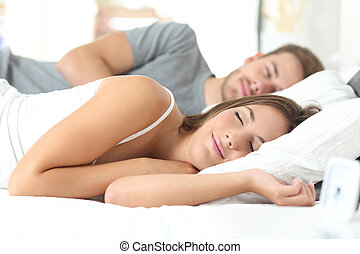 par, dormir, cama, confortável