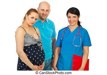 par, doutor mulher, grávida