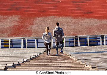 par, downstairs, andar, estádio