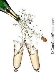par, elaboración, salpicadura, flautas champaña