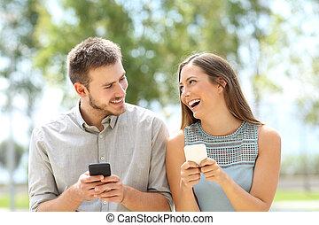par, eller, vänner, skämt, telefoner